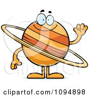 Clipart Planet Saturn Waving Royalty Free Vector Illustration