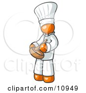 Orange Baker Chef Cook In Uniform And Chefs Hat Stirring Ingredients In A Bowl