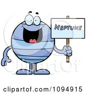 Clipart Neptune Holding A Sign Royalty Free Vector Illustration