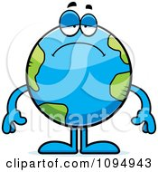 Clipart Sad Earth Globe Royalty Free Vector Illustration by Cory Thoman