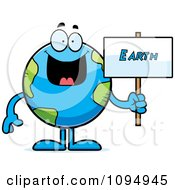 Clipart Earth Globe Holding A Sign Royalty Free Vector Illustration