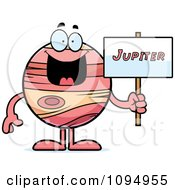Clipart Planet Jupiter Holding A Sign Royalty Free Vector Illustration by Cory Thoman