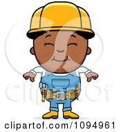 Clipart Smiling Black Handy Boy Royalty Free Vector Illustration