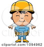 Clipart Smiling Black Haired Handy Boy Royalty Free Vector Illustration