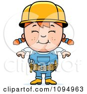 Clipart Smiling Red Haired Handy Girl Royalty Free Vector Illustration