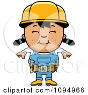 Clipart Smiling Black Haired Handy Girl Royalty Free Vector Illustration