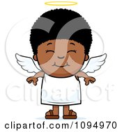 Clipart Smiling Black Angel Boy Royalty Free Vector Illustration by Cory Thoman