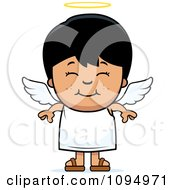 Clipart Smiling Black Haired Angel Boy Royalty Free Vector Illustration by Cory Thoman