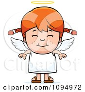 Clipart Smiling Red Haired Angel Girl Royalty Free Vector Illustration