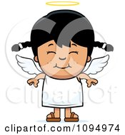 Clipart Smiling Black Haired Angel Girl Royalty Free Vector Illustration