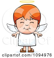Clipart Smiling Red Haired Angel Boy Royalty Free Vector Illustration