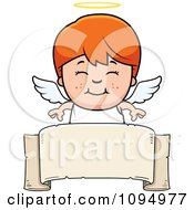 Clipart Smiling Red Haired Angel Boy Over A Banner Royalty Free Vector Illustration