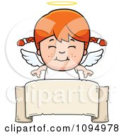 Clipart Smiling Red Haired Angel Girl Over A Banner Royalty Free Vector Illustration