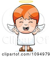 Clipart Happy Red Haired Angel Boy Royalty Free Vector Illustration