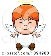 Clipart Smiling Sitting Red Haired Angel Boy Royalty Free Vector Illustration