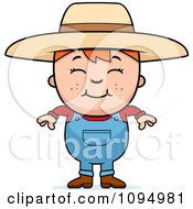 Clipart Smiling Red Haired Farmer Boy Royalty Free Vector Illustration