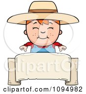 Clipart Red Haired Farmer Boy Over A Banner Royalty Free Vector Illustration