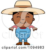 Clipart Smiling Black Farmer Boy Over A Banner Royalty Free Vector Illustration