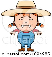 Clipart Mean Red Haired Farmer Girl Royalty Free Vector Illustration by Cory Thoman