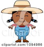 Clipart Smiling Black Farmer Girl Royalty Free Vector Illustration