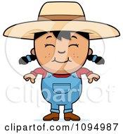 Smiling Black Haired Farmer Girl