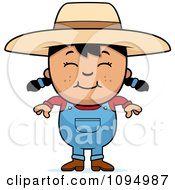 Clipart Smiling Black Haired Farmer Girl Royalty Free Vector Illustration