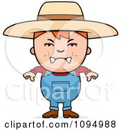 Clipart Mad Red Haired Farmer Boy Royalty Free Vector Illustration