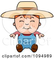 Clipart Sitting Red Haired Farmer Boy Royalty Free Vector Illustration