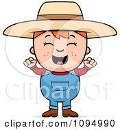 Clipart Happy Red Haired Farmer Boy Royalty Free Vector Illustration