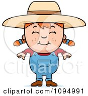 Clipart Smiling Red Haired Farmer Girl Royalty Free Vector Illustration