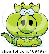 Clipart Green Baby Triceratops Royalty Free Vector Illustration by Cory Thoman