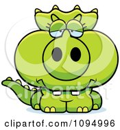 Clipart Depressed Green Baby Triceratops Royalty Free Vector Illustration