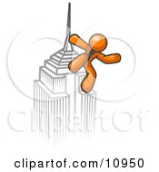 Orange Man Climbing To The Top Of A Skyscraper Tower Like King Kong Success Achievement Clipart Illustration