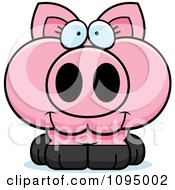 Clipart Cute Piglet Royalty Free Vector Illustration by Cory Thoman