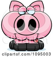 Clipart Drunk Piglet Royalty Free Vector Illustration