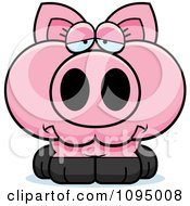 Clipart Depressed Piglet Royalty Free Vector Illustration