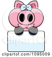 Clipart Piglet Holding A Sign Royalty Free Vector Illustration