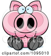 Clipart Piglet Sitting Royalty Free Vector Illustration