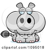Clipart Depressed Rhino Royalty Free Vector Illustration