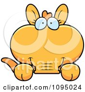 Clipart Orange Aardvark Looking Over A Surface Royalty Free Vector Illustration by Cory Thoman