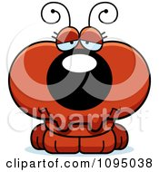 Clipart Depressed Red Ant Royalty Free Vector Illustration