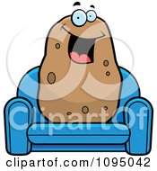 Clipart Happy Potato Sitting On A Blue Couch Royalty Free Vector Illustration by Cory Thoman