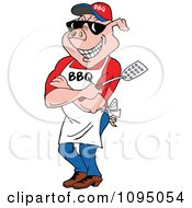 Clipart Bbq Pig Chef Wearing An Apron Shades And Holding A Spatula Royalty Free Vector Illustration by LaffToon