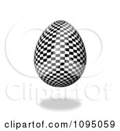 Clipart 3d Floating Checkered Easter Egg And Shadow Royalty Free CGI Illustration