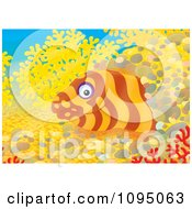 Clipart Moray Eel Peeking From A Hole In A Reef Royalty Free Illustration by Alex Bannykh