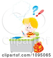 Clipart Blond School Boy Doing Homework At His Desk Royalty Free Vector Illustration by Alex Bannykh