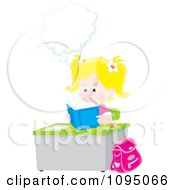 Clipart Blond School Girl Thinking And Reading A Book At Her Desk Royalty Free Vector Illustration by Alex Bannykh