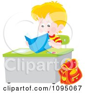 Clipart Blond School Boy Reading A Book At His Desk Royalty Free Vector Illustration by Alex Bannykh