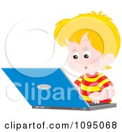 Clipart Blond School Boy Studying On A Laptop Royalty Free Vector Illustration