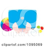 Clipart Boy With A Laptop Resting On His Feet At The Beach Royalty Free Vector Illustration